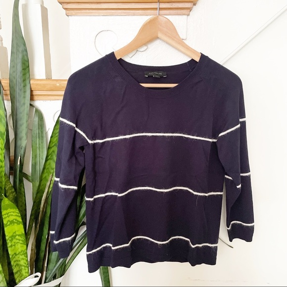 Ann Taylor navy blue striped scoop neck sweater S